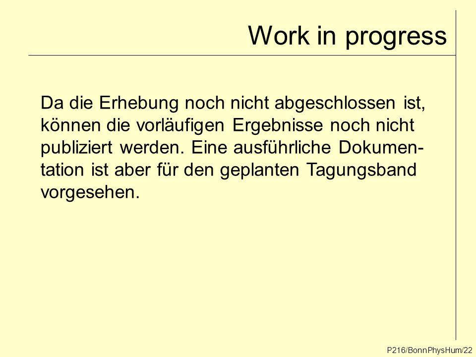Work in progress Da die Erhebung noch nicht abgeschlossen ist,