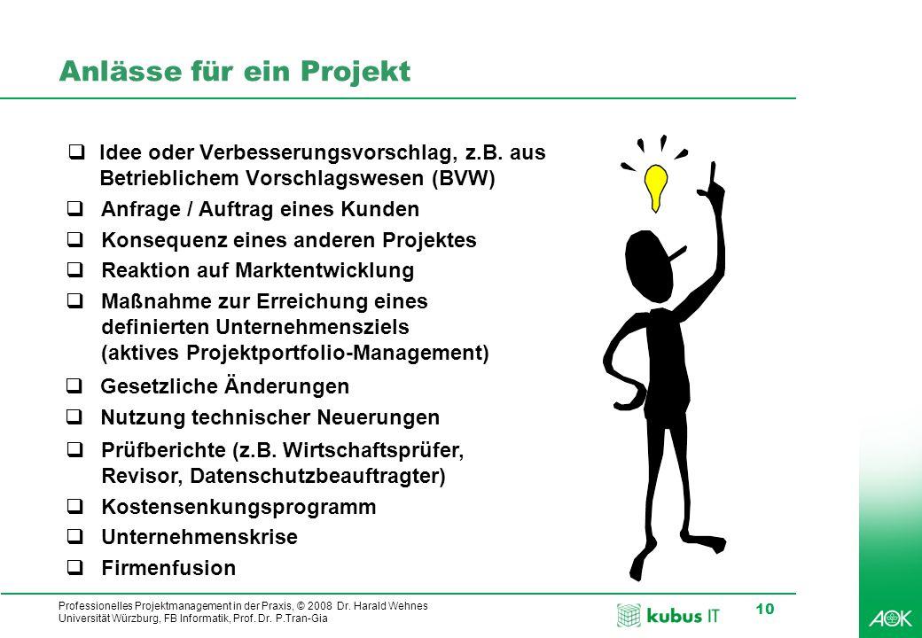 Anlässe für ein Projekt
