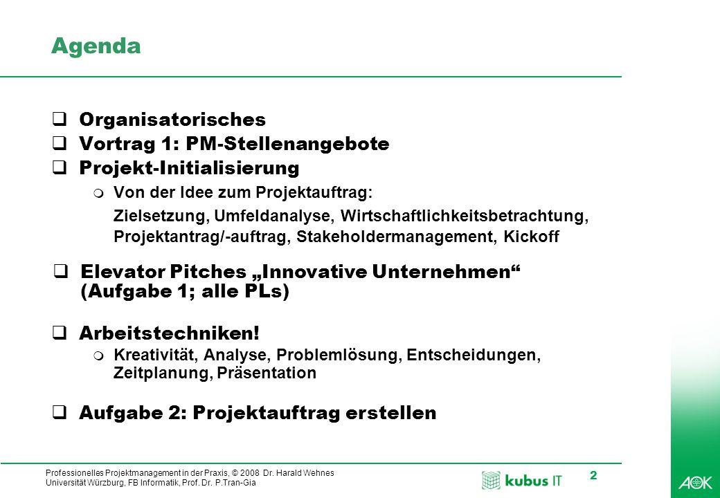 Agenda Organisatorisches Vortrag 1: PM-Stellenangebote
