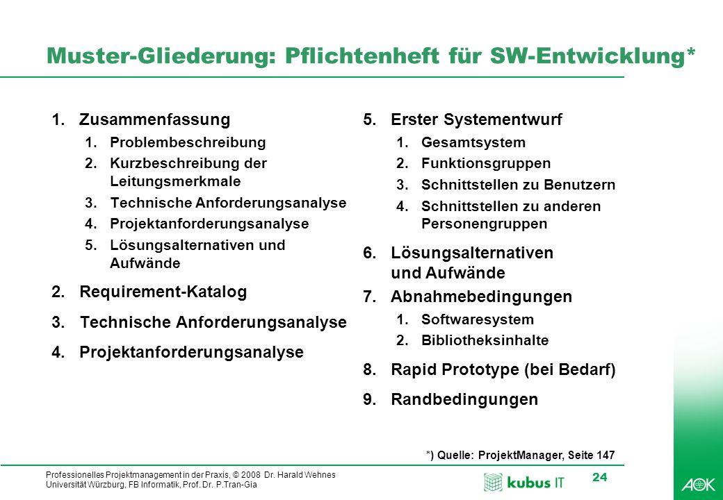 Muster-Gliederung: Pflichtenheft für SW-Entwicklung*