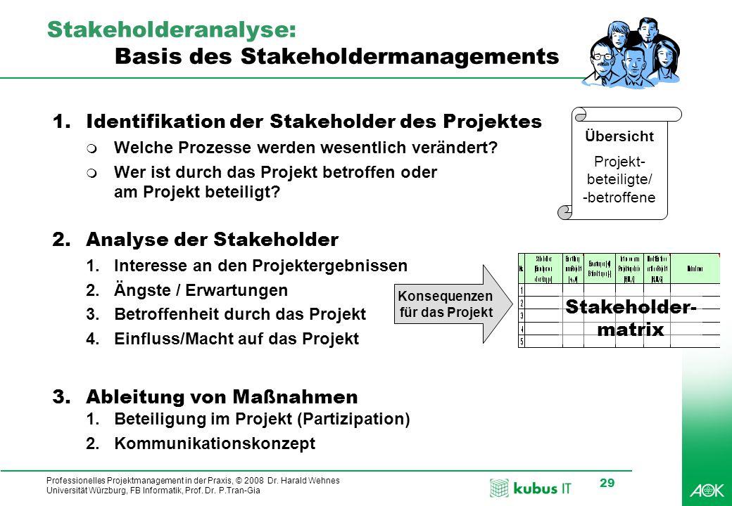 Stakeholderanalyse: Basis des Stakeholdermanagements
