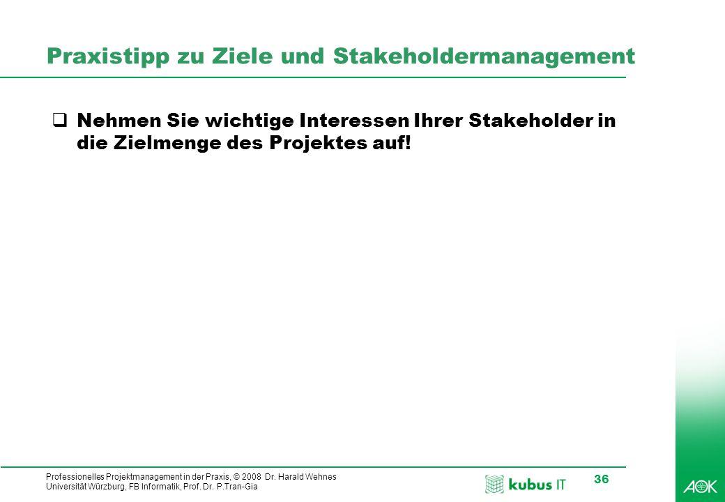 Praxistipp zu Ziele und Stakeholdermanagement