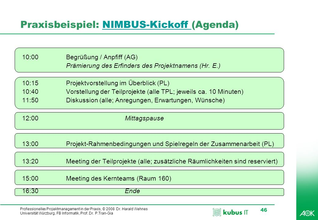 Praxisbeispiel: NIMBUS-Kickoff (Agenda)