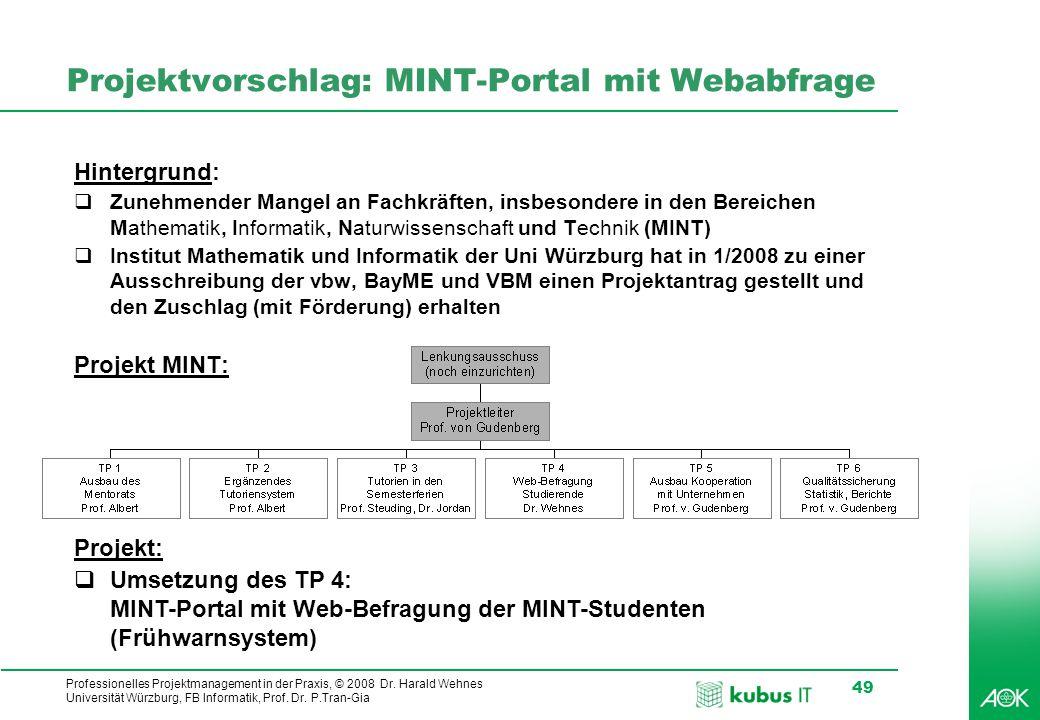 Projektvorschlag: MINT-Portal mit Webabfrage