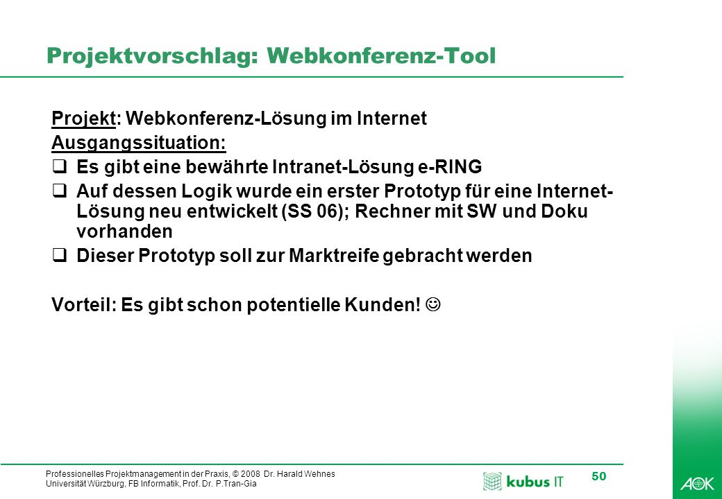Projektvorschlag: Webkonferenz-Tool
