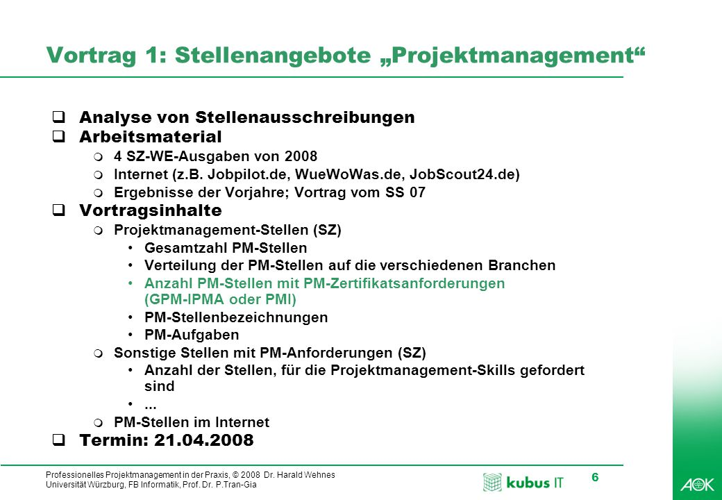 """Vortrag 1: Stellenangebote """"Projektmanagement"""