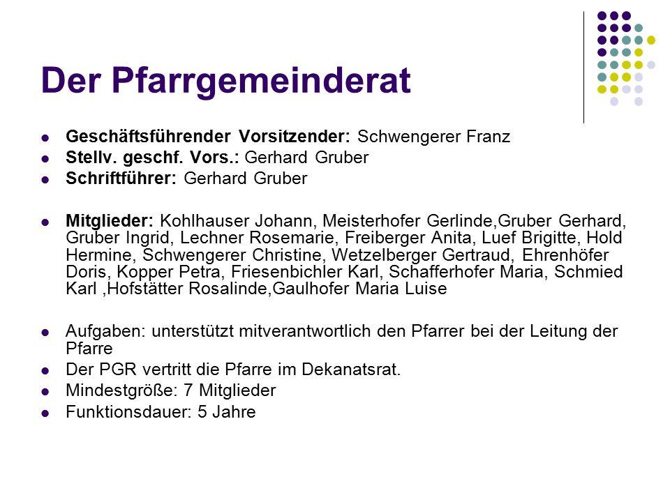 Der Pfarrgemeinderat Geschäftsführender Vorsitzender: Schwengerer Franz. Stellv. geschf. Vors.: Gerhard Gruber.