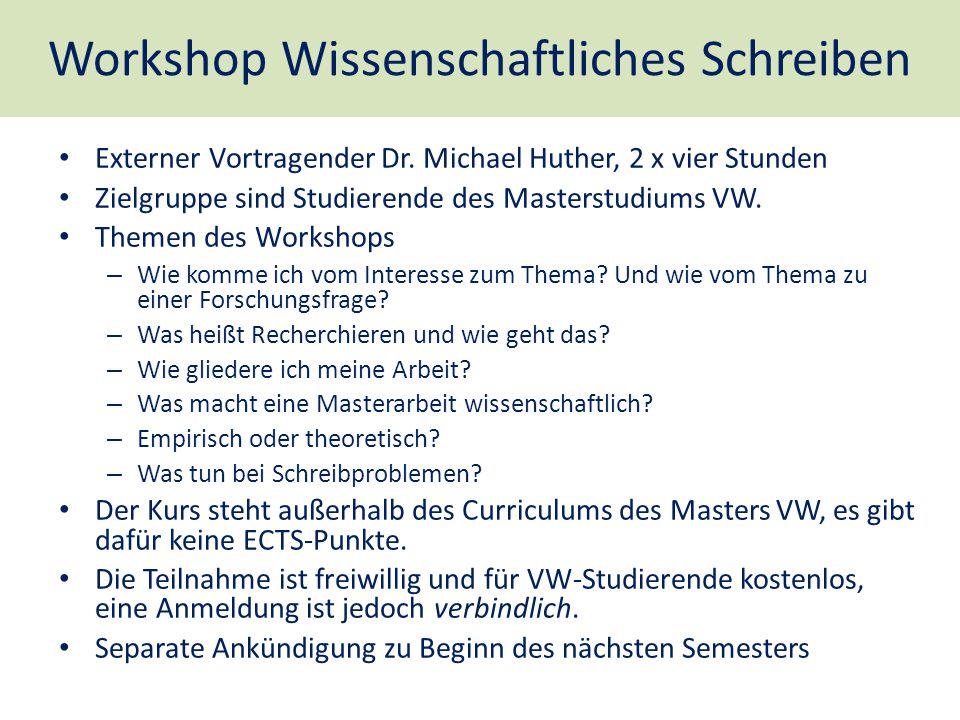 Workshop Wissenschaftliches Schreiben