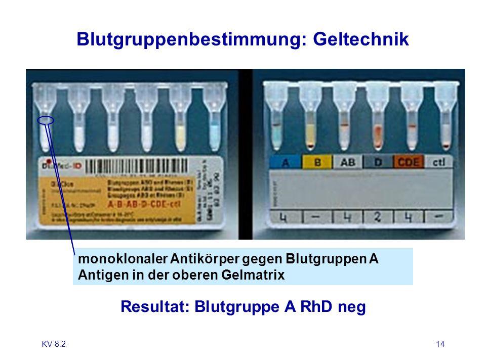 Blutgruppenbestimmung: Geltechnik