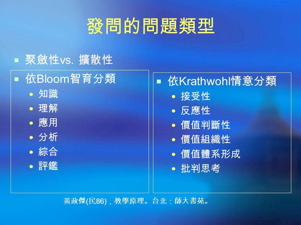 發問的問題類型 聚斂性vs. 擴散性 依Bloom智育分類 依Krathwohl情意分類 知識 接受性 理解 反應性 應用 價值判斷性 分析