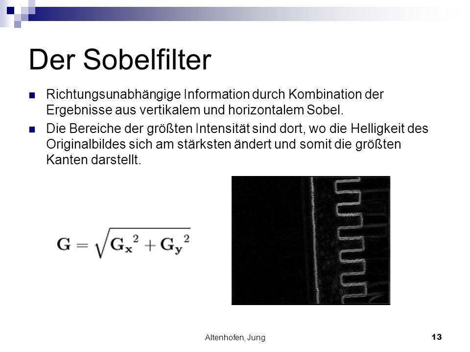 Der Sobelfilter Richtungsunabhängige Information durch Kombination der Ergebnisse aus vertikalem und horizontalem Sobel.