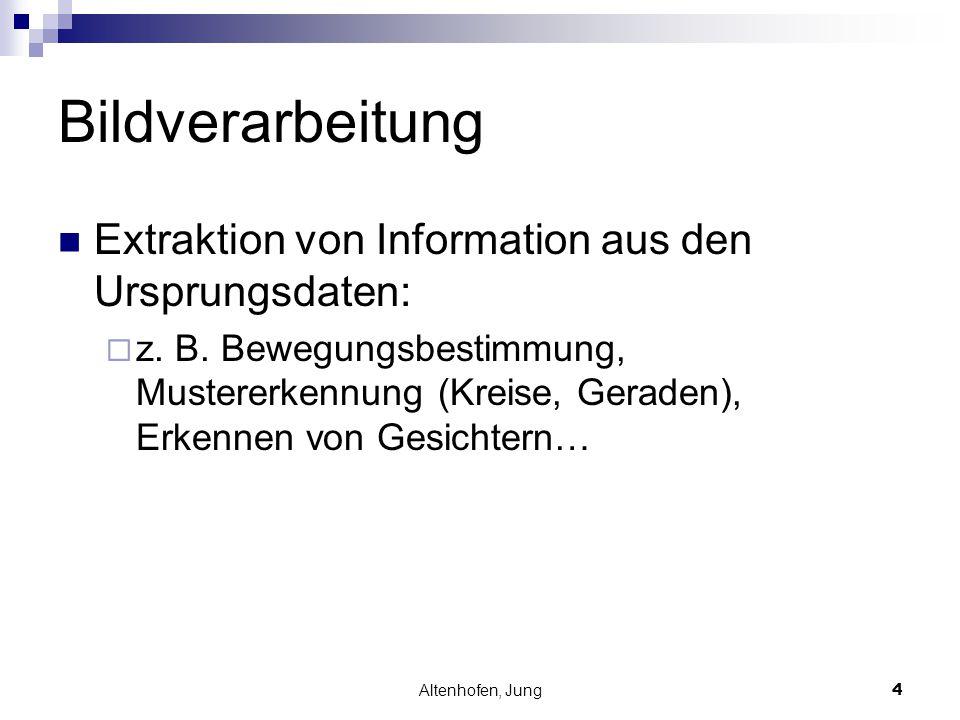 Bildverarbeitung Extraktion von Information aus den Ursprungsdaten: