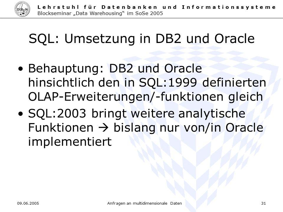 SQL: Umsetzung in DB2 und Oracle