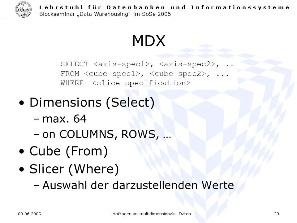 Anfragen an multidimensionale Daten