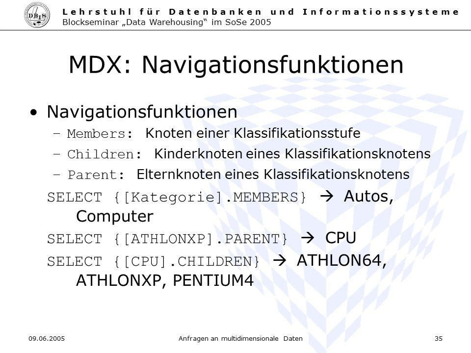 MDX: Navigationsfunktionen