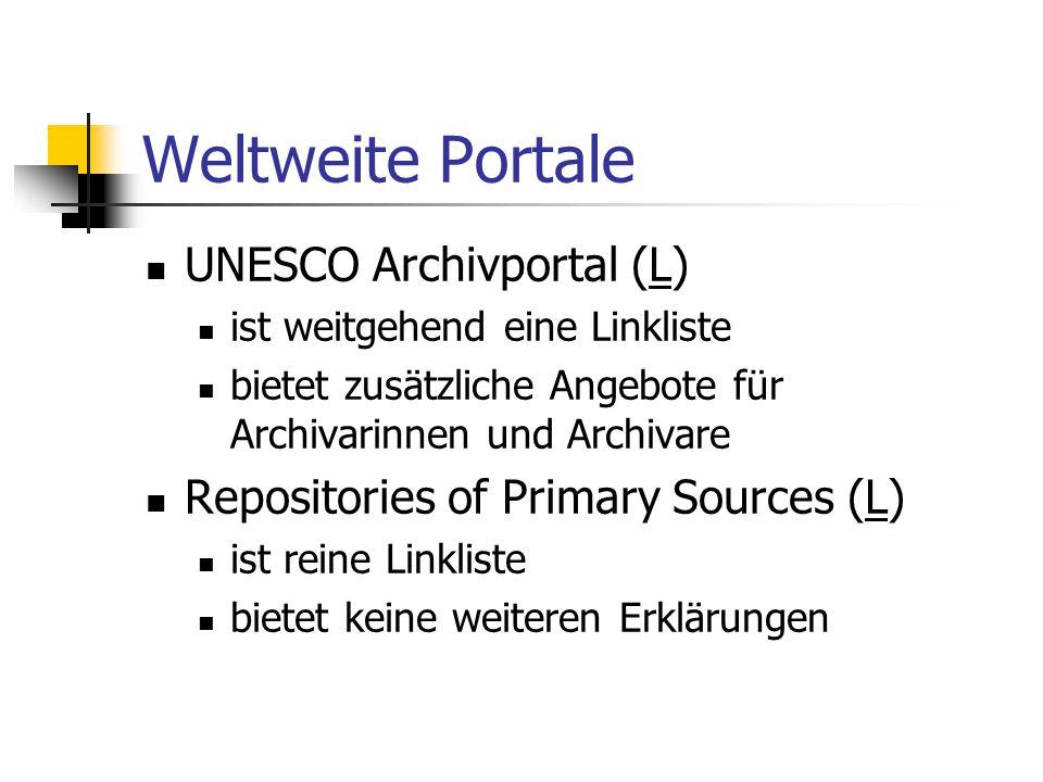 Weltweite Portale UNESCO Archivportal (L)