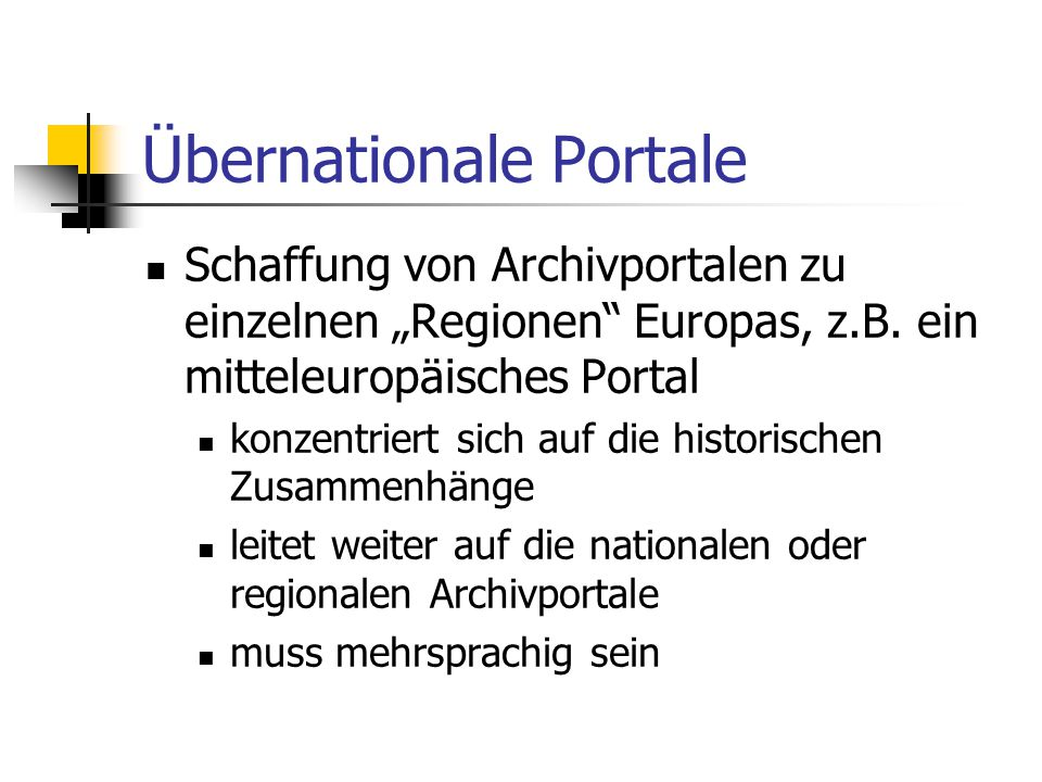 Übernationale Portale