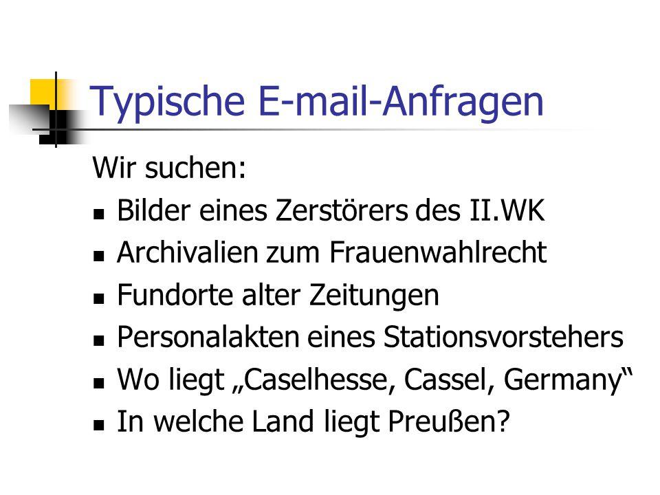 Typische E-mail-Anfragen