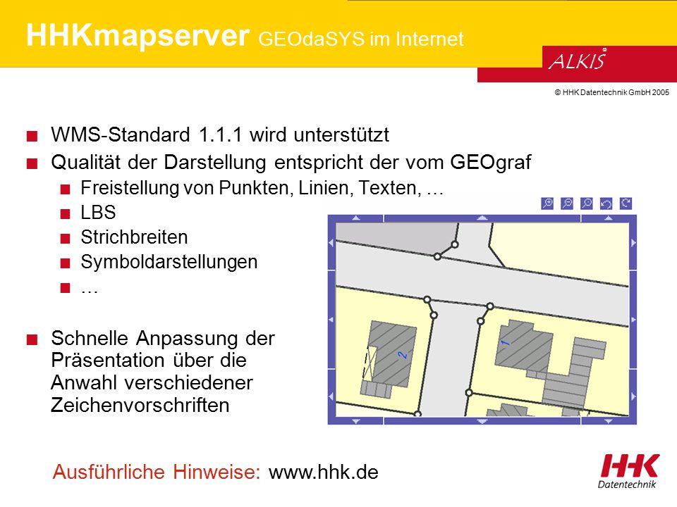 HHKmapserver GEOdaSYS im Internet