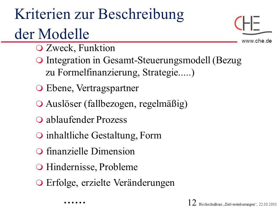 Kriterien zur Beschreibung der Modelle