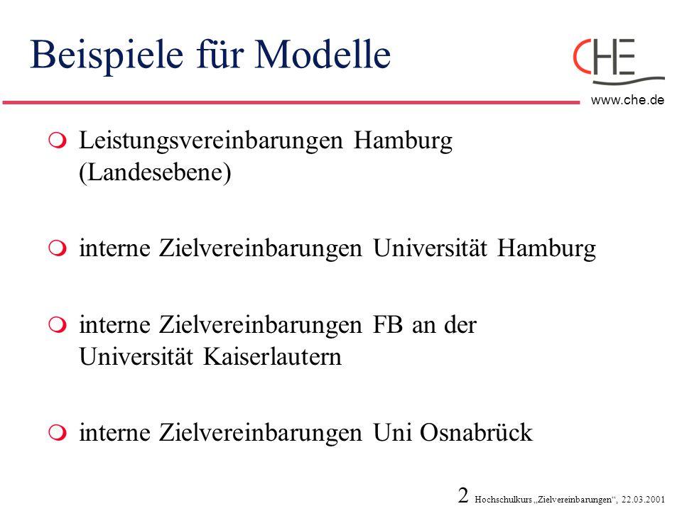Beispiele für Modelle Leistungsvereinbarungen Hamburg (Landesebene)