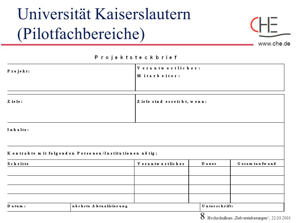 Universität Kaiserslautern (Pilotfachbereiche)