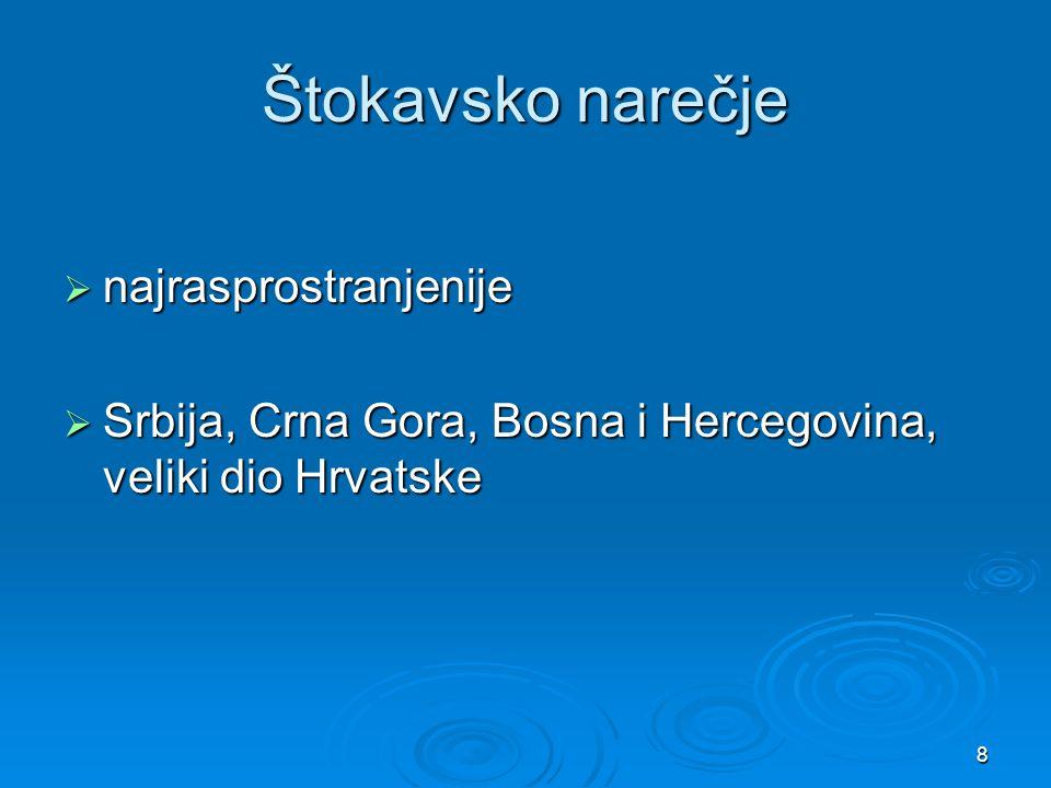 Štokavsko narečje najrasprostranjenije