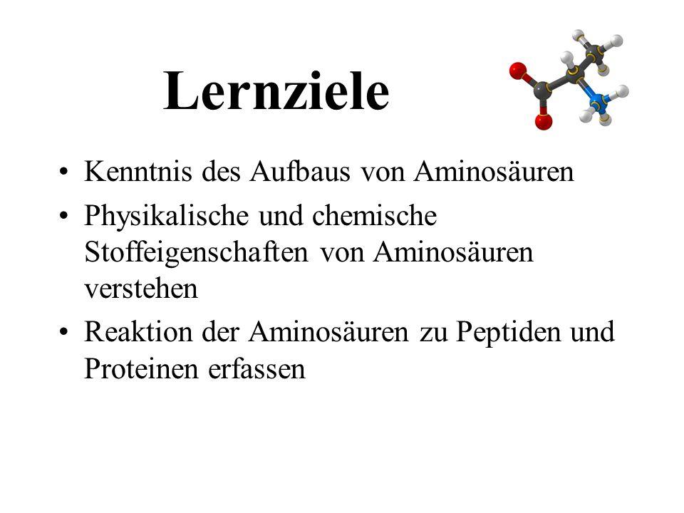 Lernziele Kenntnis des Aufbaus von Aminosäuren