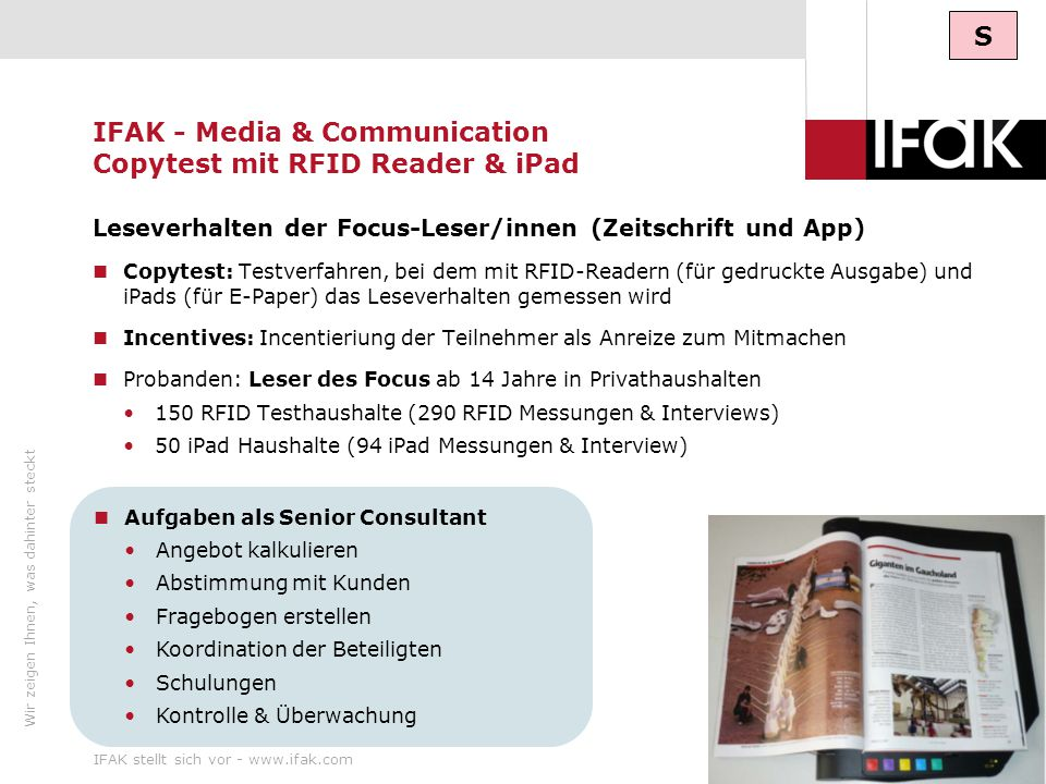 IFAK - Media & Communication Copytest mit RFID Reader & iPad