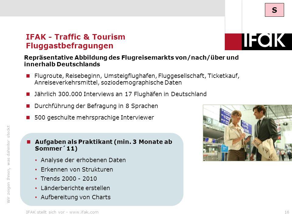 IFAK - Traffic & Tourism Fluggastbefragungen