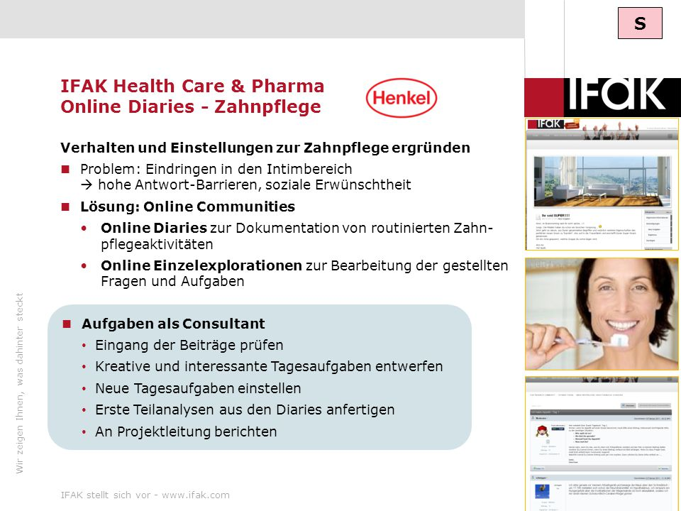 IFAK Health Care & Pharma Online Diaries - Zahnpflege