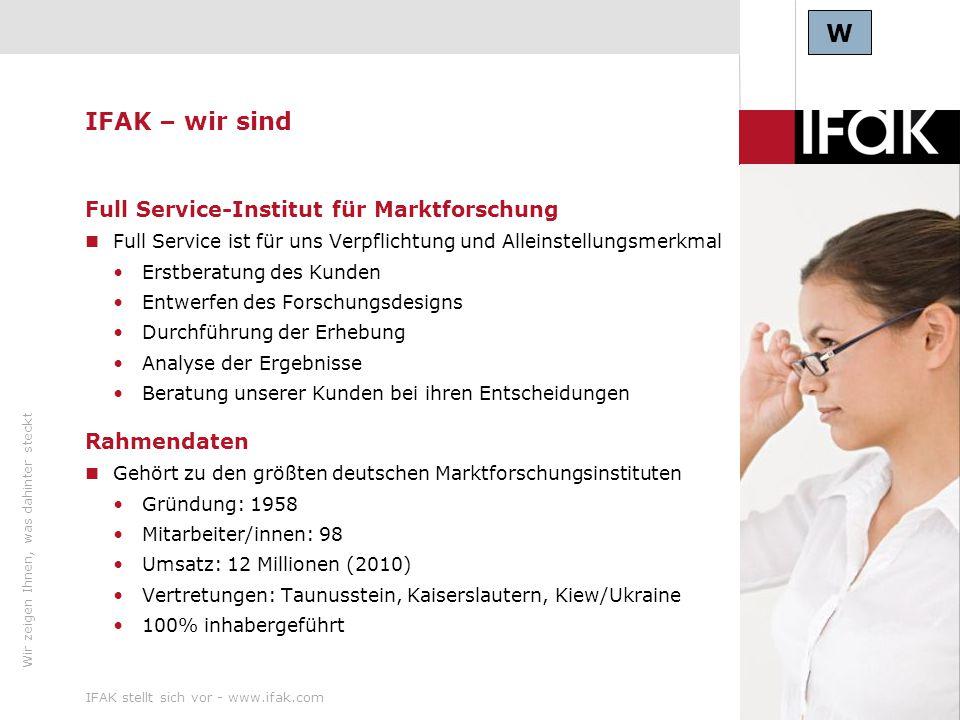 W IFAK – wir sind Full Service-Institut für Marktforschung Rahmendaten