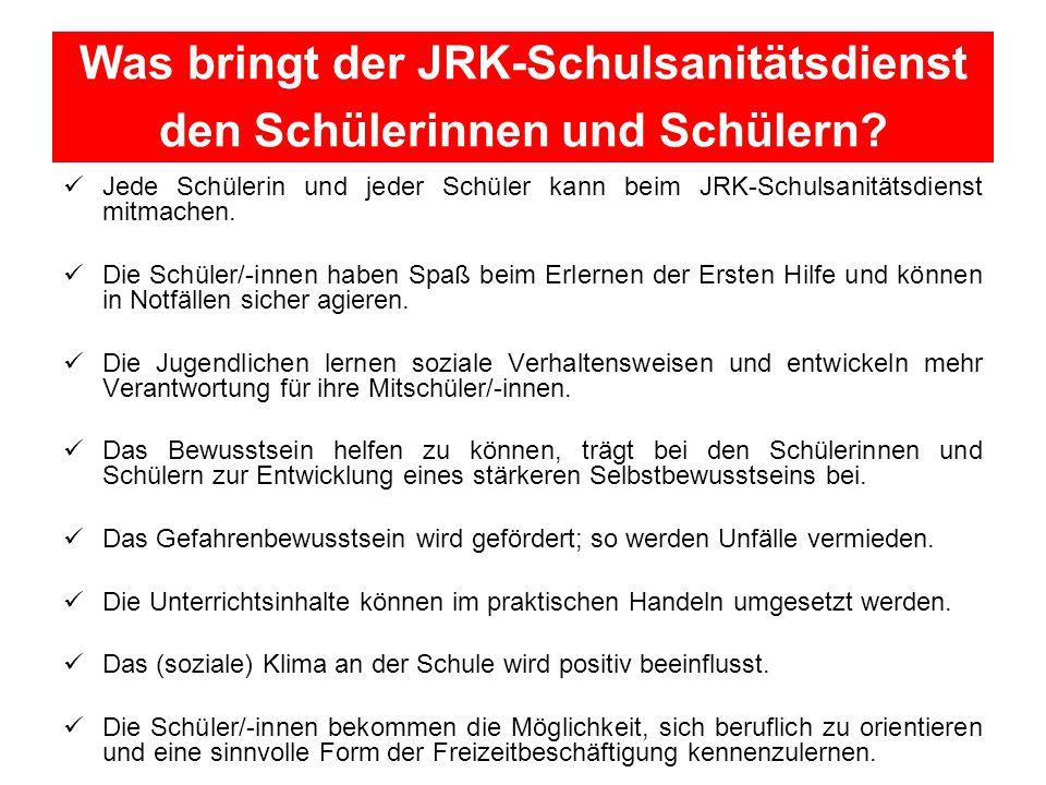 Was bringt der JRK-Schulsanitätsdienst den Schülerinnen und Schülern
