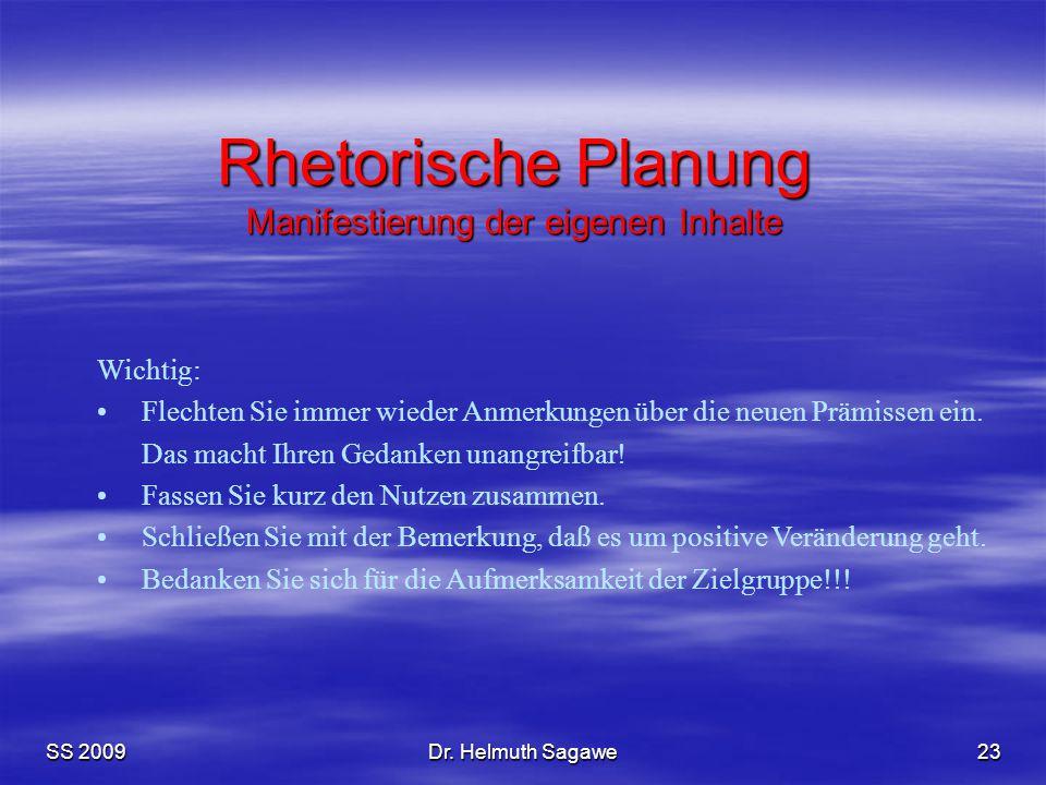 Rhetorische Planung Manifestierung der eigenen Inhalte