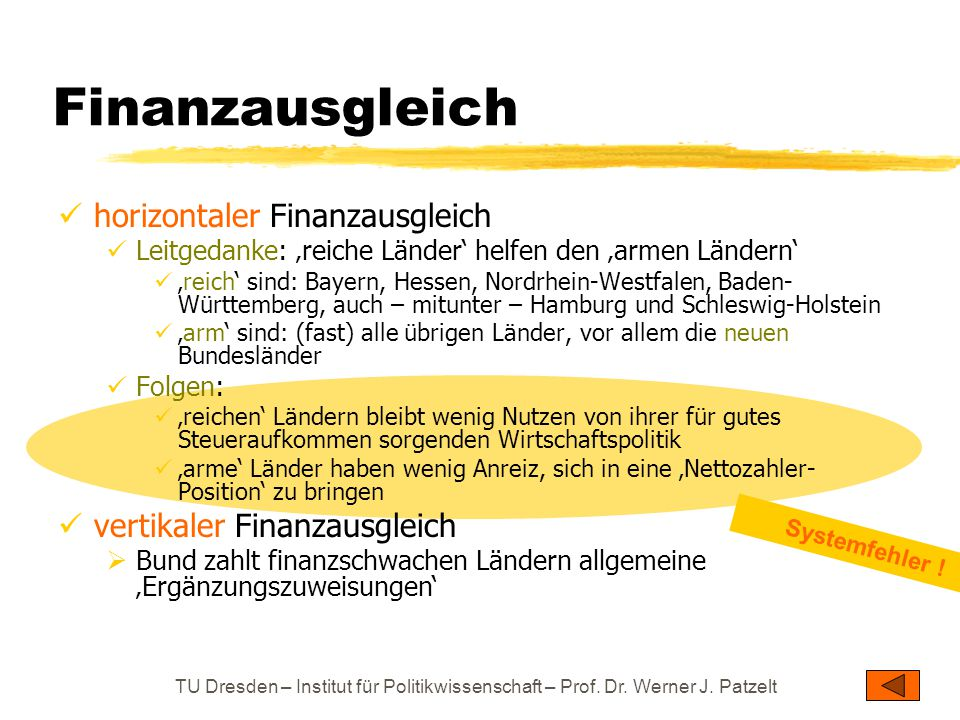 Finanzausgleich horizontaler Finanzausgleich