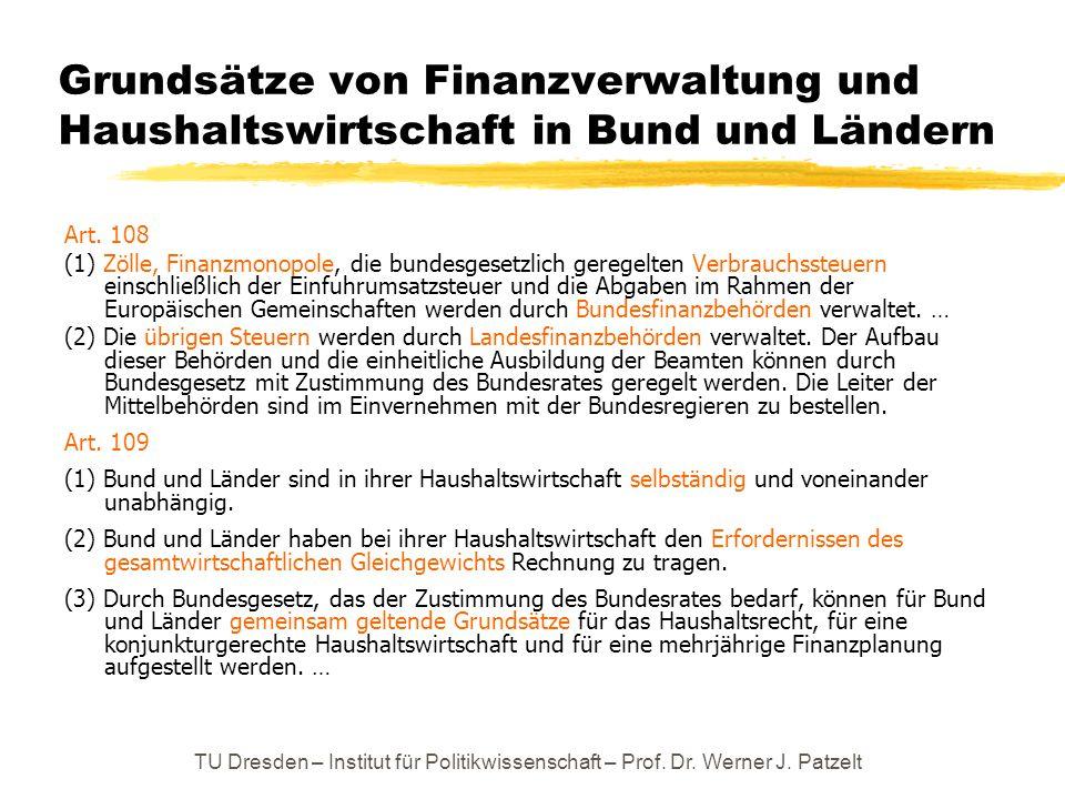 Grundsätze von Finanzverwaltung und Haushaltswirtschaft in Bund und Ländern