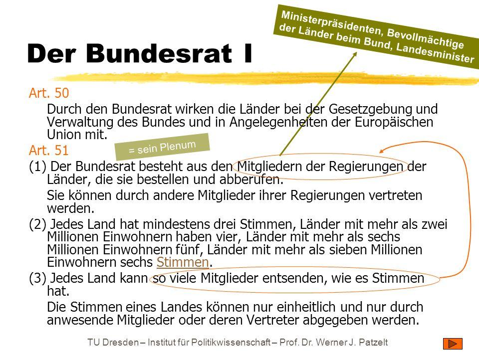 Der Bundesrat I Ministerpräsidenten, Bevollmächtige der Länder beim Bund, Landesminister. Art. 50.