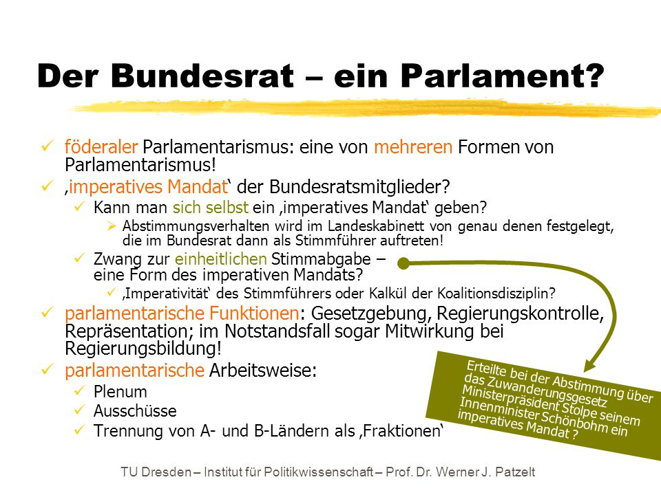 Der Bundesrat – ein Parlament