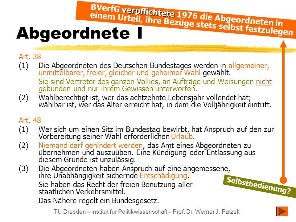 Abgeordnete I BVerfG verpflichtete 1976 die Abgeordneten in einem Urteil, ihre Bezüge stets selbst festzulegen.