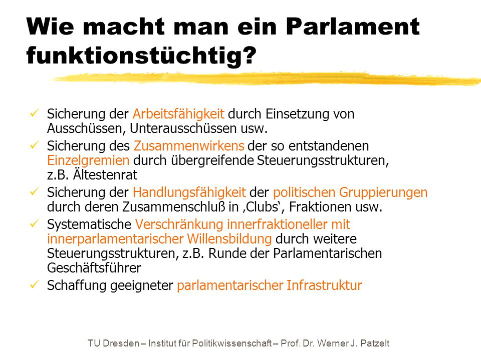 Wie macht man ein Parlament funktionstüchtig