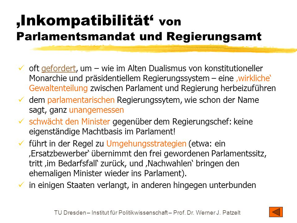 'Inkompatibilität' von Parlamentsmandat und Regierungsamt