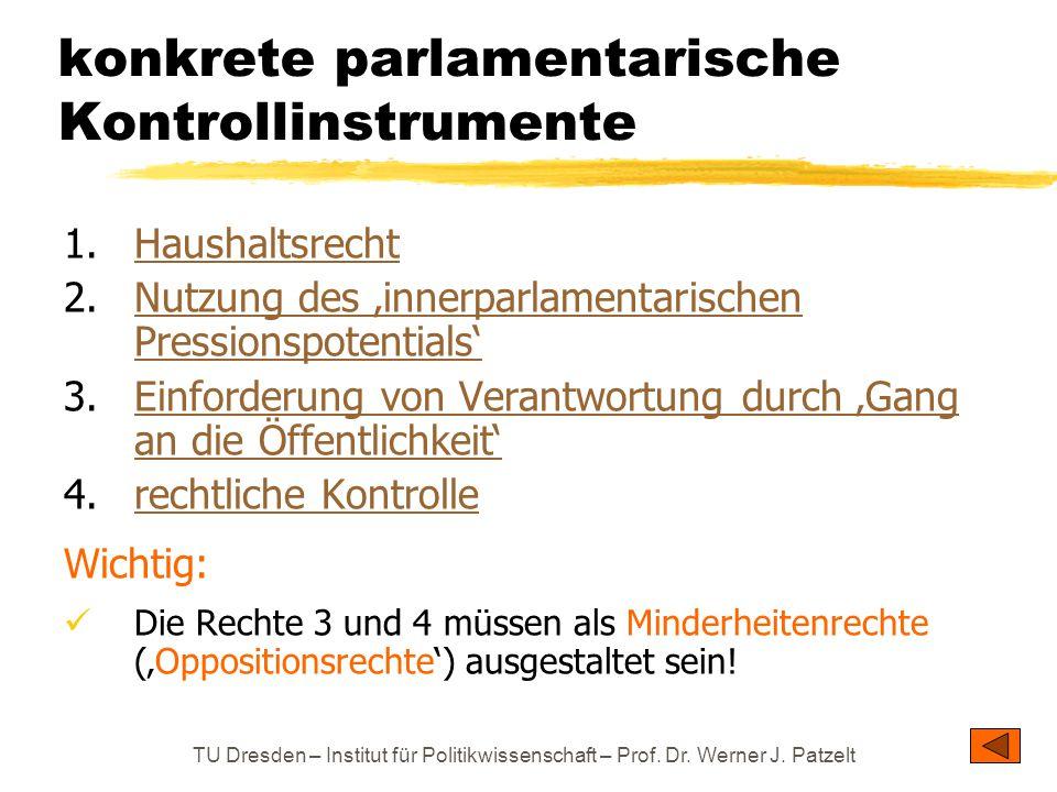 konkrete parlamentarische Kontrollinstrumente