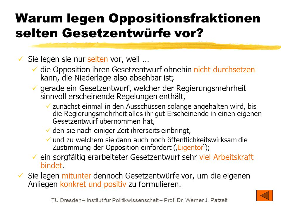 Warum legen Oppositionsfraktionen selten Gesetzentwürfe vor