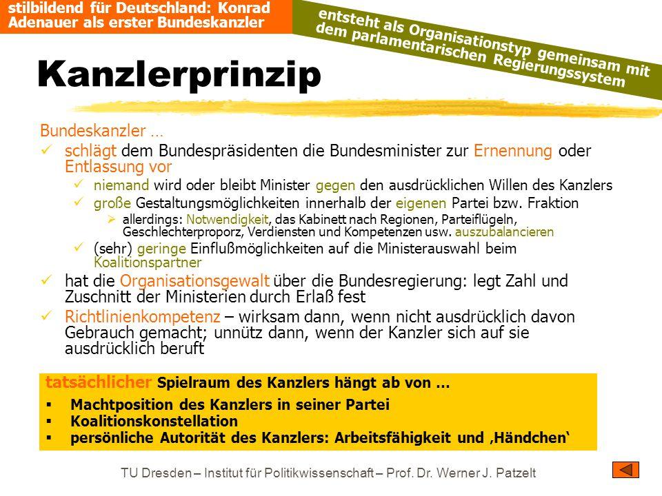 Kanzlerprinzip Bundeskanzler …