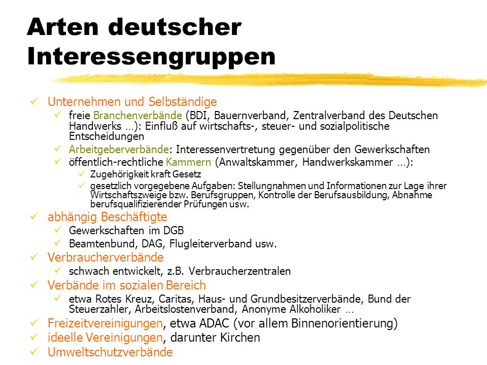 Arten deutscher Interessengruppen