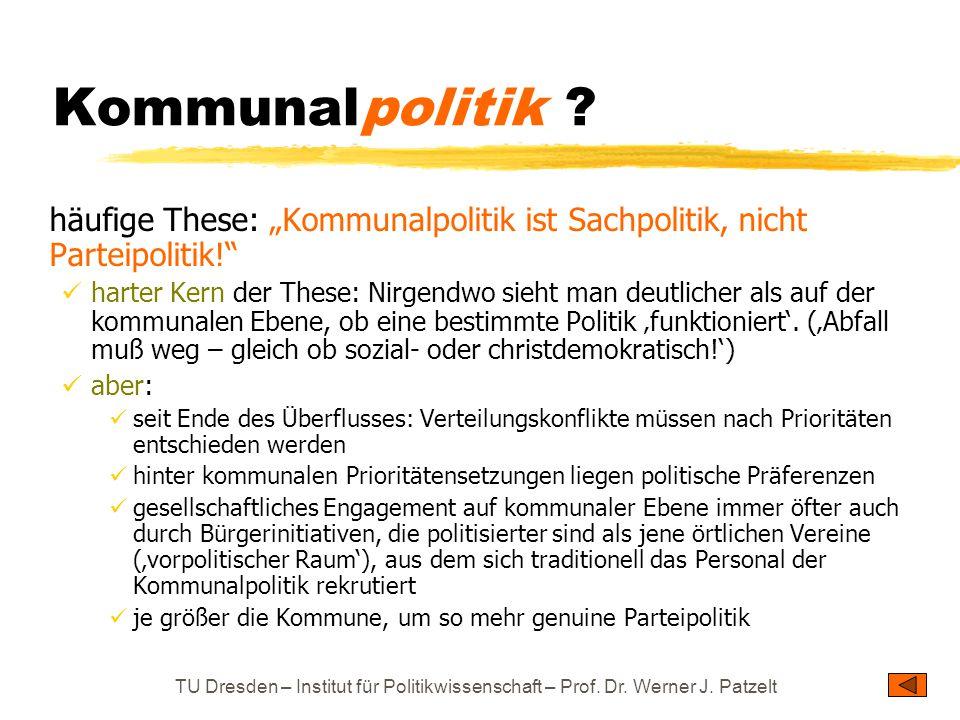 """Kommunalpolitik häufige These: """"Kommunalpolitik ist Sachpolitik, nicht Parteipolitik!"""