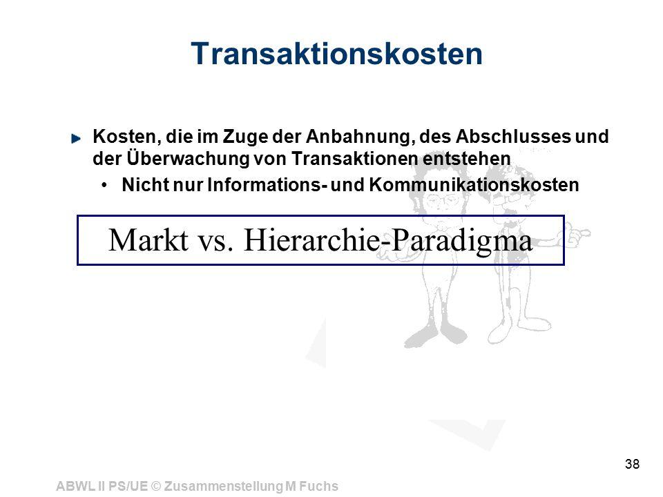 Markt vs. Hierarchie-Paradigma