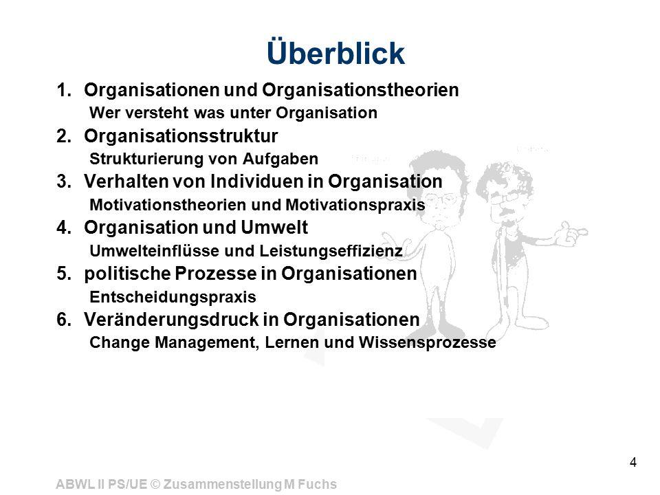 Überblick Organisationen und Organisationstheorien