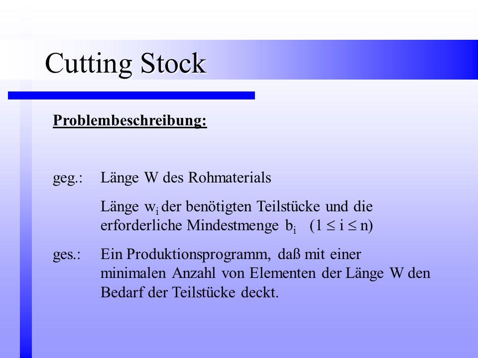 Cutting Stock Problembeschreibung: geg.: Länge W des Rohmaterials