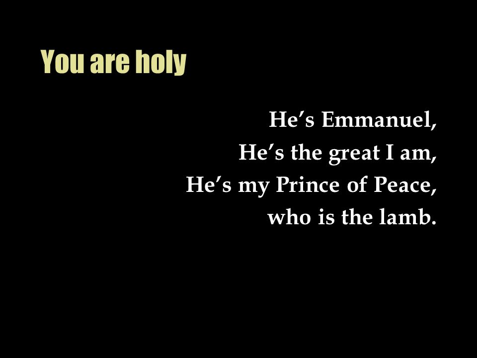 You are holy He's Emmanuel, He's the great I am,